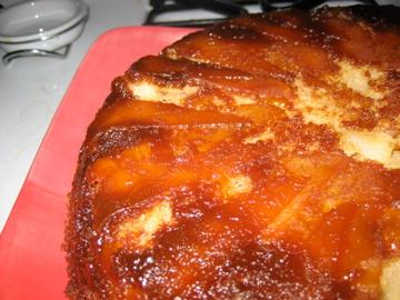 Apple Pear Upside-Down Cake with Ginger Caramel Glaze