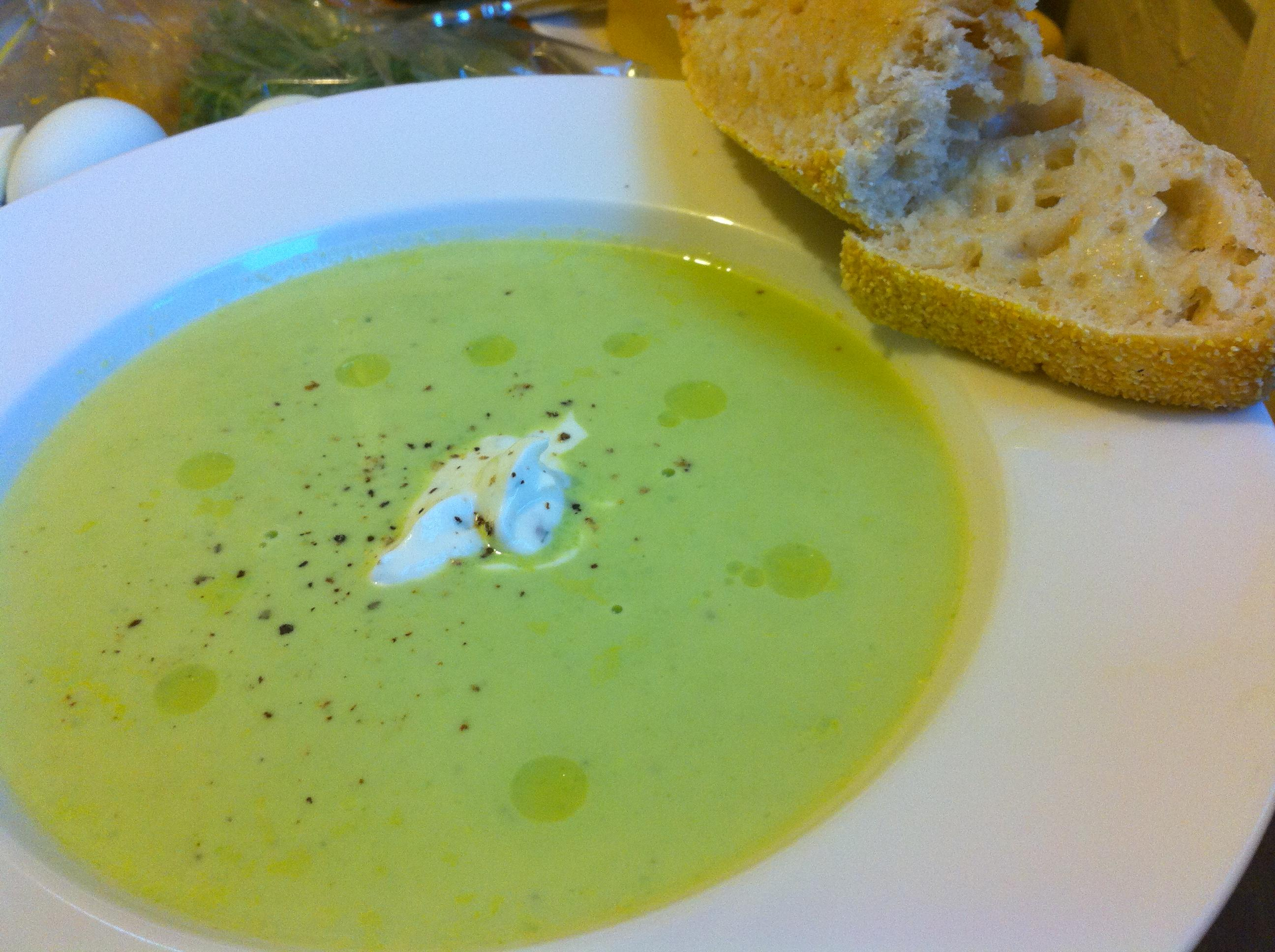 Summer Pea Soup with Lemon-Tarragon Yogurt