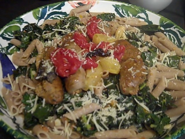 Cilantro Chicken Sausage with Roasted Heirloom tomatoes over Sauteed Kale and Penne