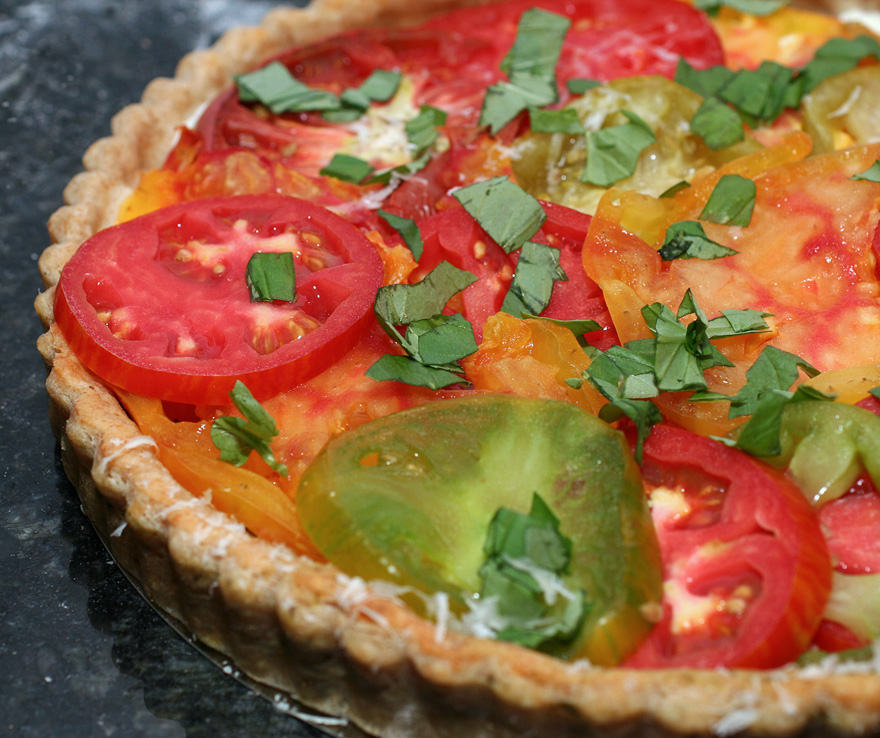 Heirloom Tomato Tart with a Parmesan Basil Crust recipe on ...