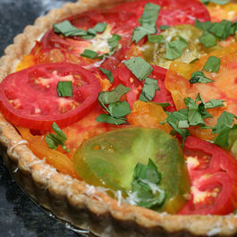 Heirloom Tomato Tart with a Parmesan Basil Crust