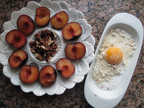Pecan& Almond-topped Baked Plums
