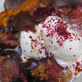 A chocolate black plum pudding with bourbon for a mud-luscious world