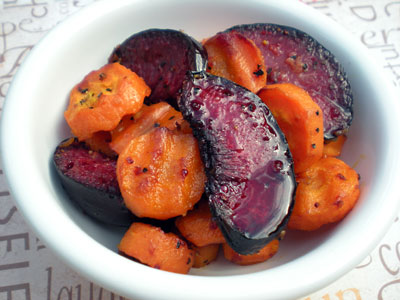 Roasted Plum Tsimmes w/ Honey-Cider Reduction