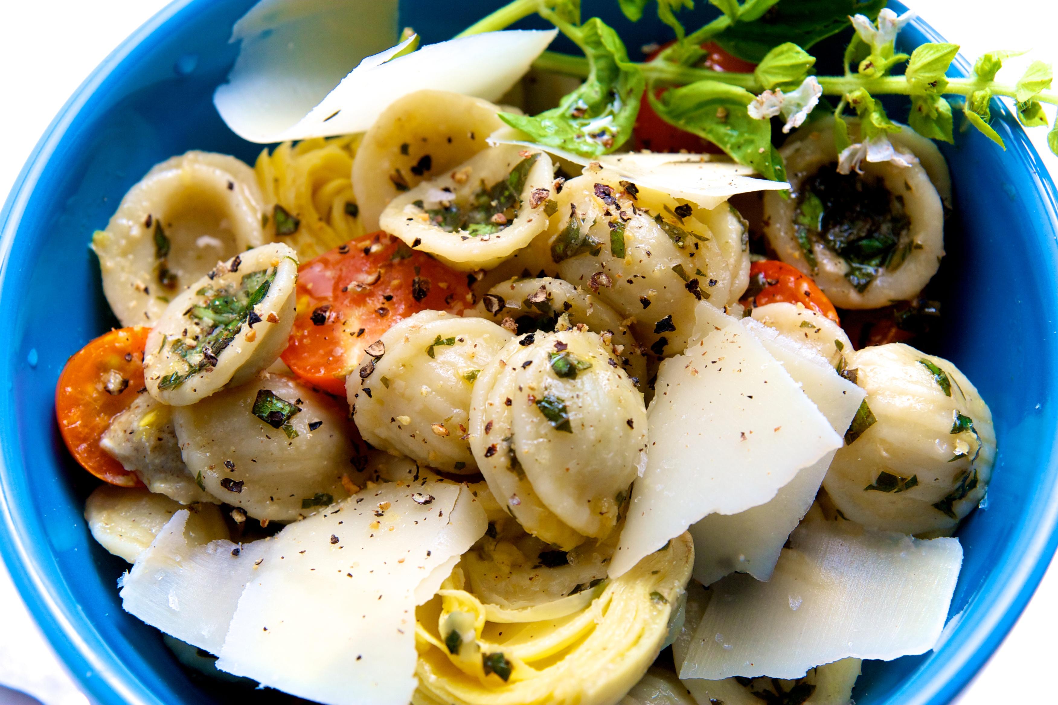 Orecchiette with Lemon Basil Pesto, Cherry Tomatoes & Artichokes