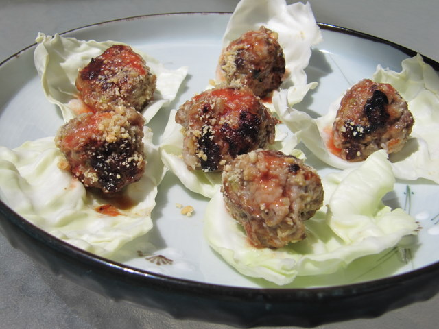 Green Papaya Meatballs with Peanuts and Sweet-Spicy Glaze
