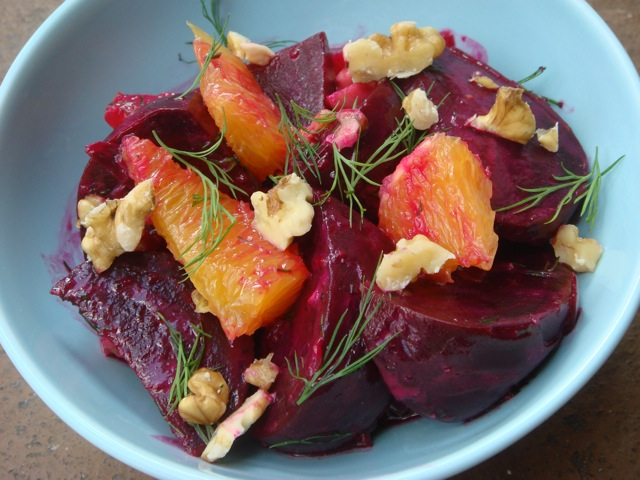 Roasted Beet & Orange Salad with Creamy Dill Vinaigrette