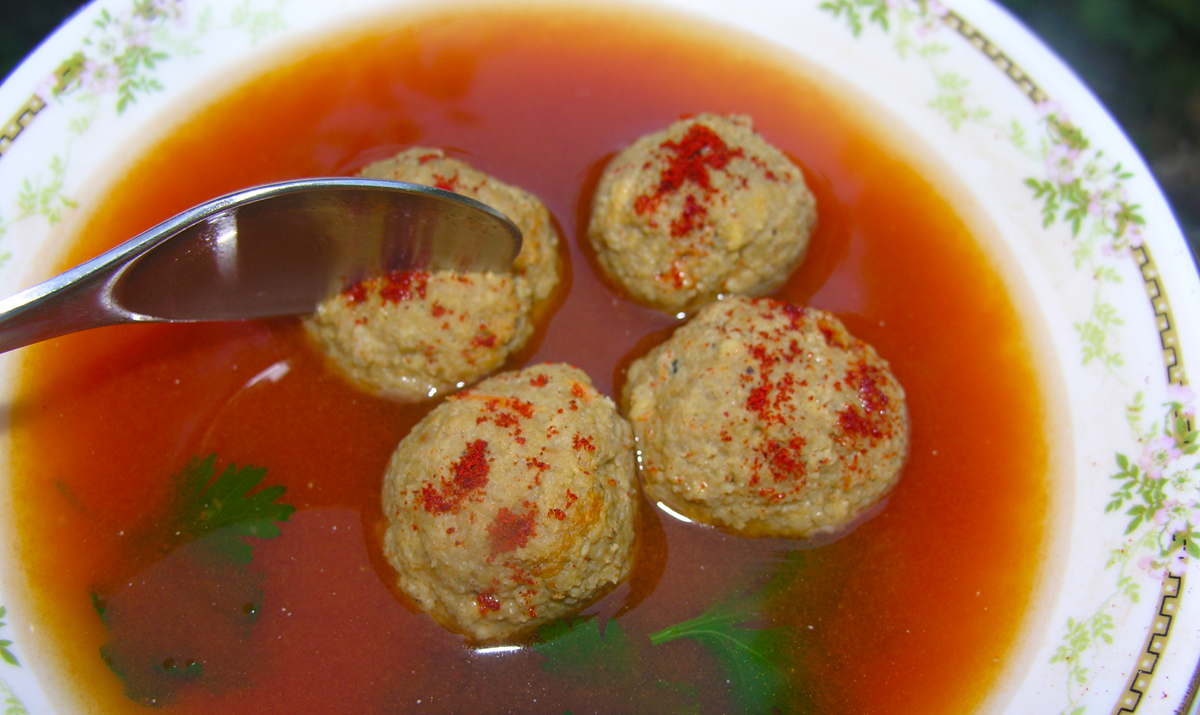 Liver dumpling meatballs in a heavenly broth