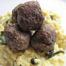 Breakfast Meatballs with Minted-Soft-Scrambled-Eggs