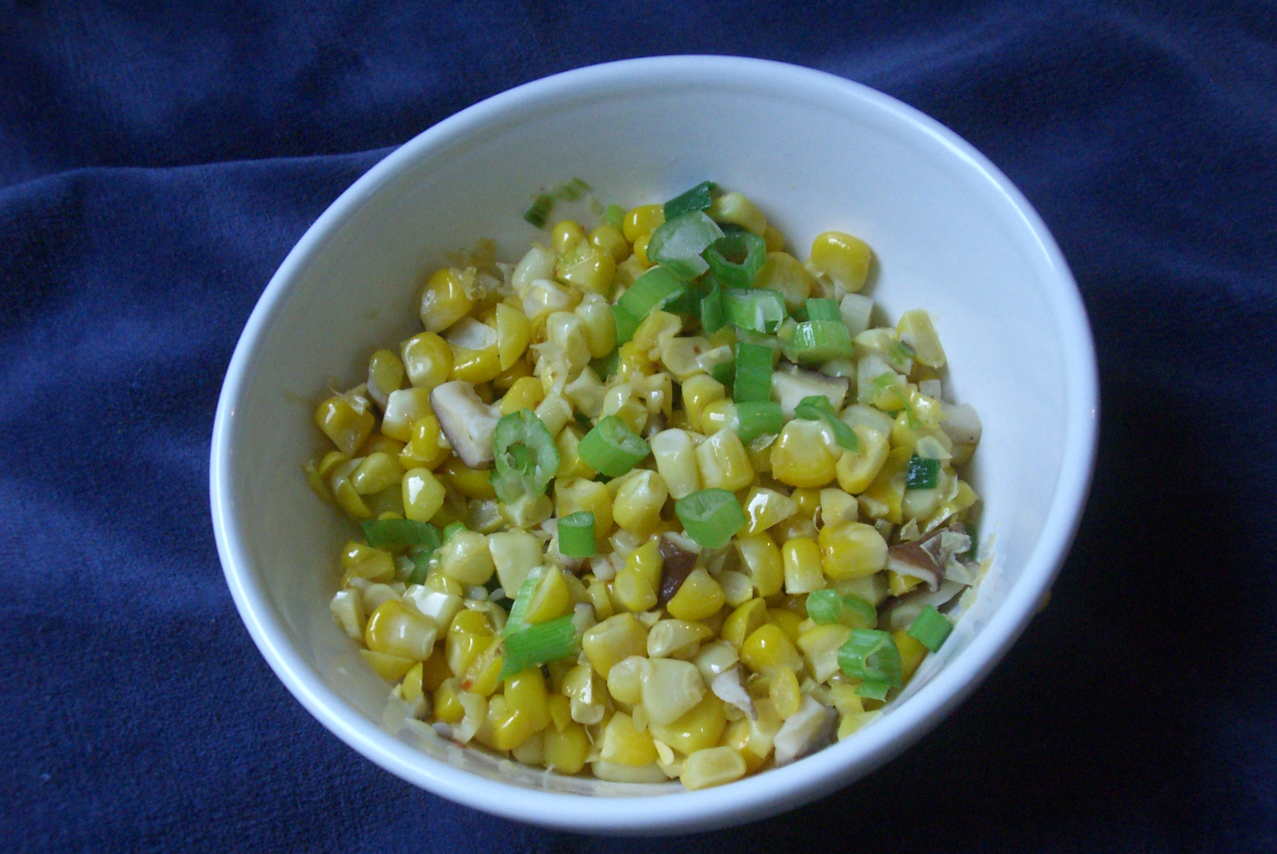 Sauteed Corn, Green Onions and Shiitake Mushrooms