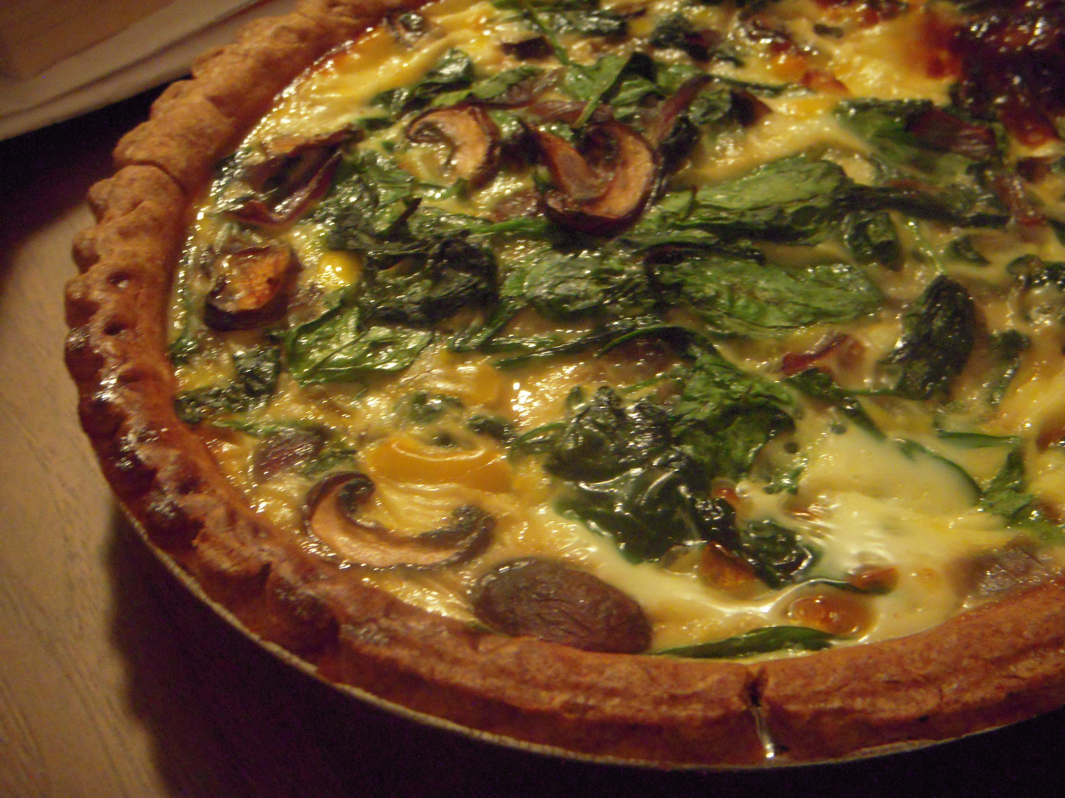 spinach, mushroom, and mozzarella quiche