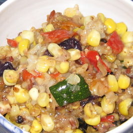 Roasted corn, peppers and zucchini with brown rice (comfort food for a hot August night)