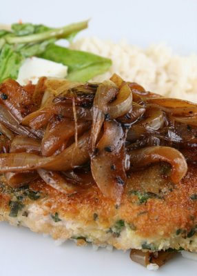 Herb-Crusted Pork Chops with Balsamic Onions