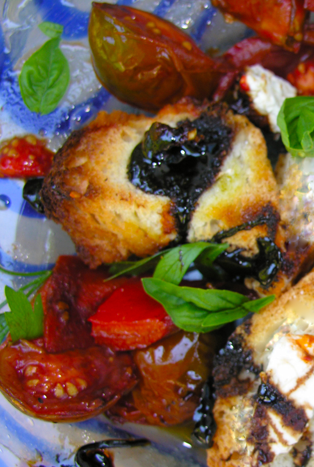 Roasted red pepper and black cherry tomato bruschetta, Pollock style