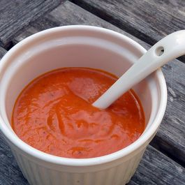 Roasted Red Pepper Sauce (or Soup!) with Creme Fraiche, Lime and Cumin