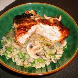 agave teriyaki salmon and brown rice