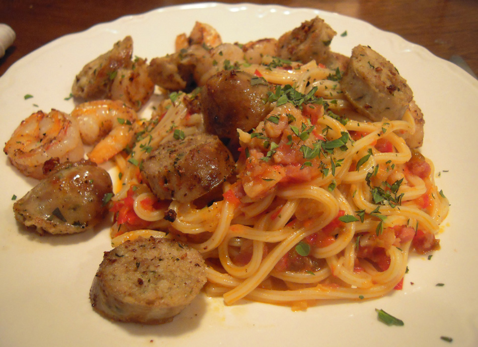 Pasta with Red Pepper Sauce, Sausage, and Shrimp