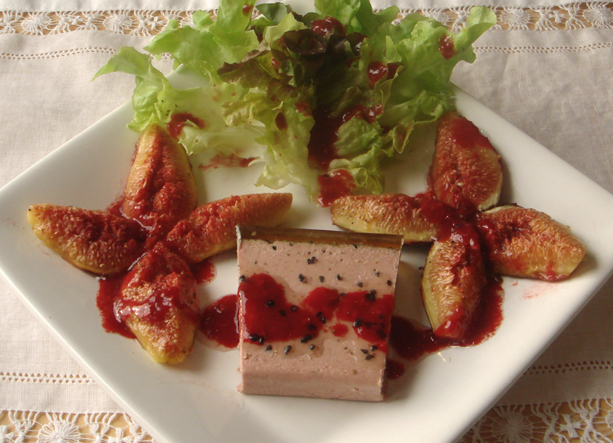 Foie Gras, Roasted Figs with Raspberry Vinaigrette