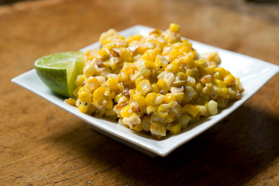 Roasted Corn with Parmesan, Lime and Chili