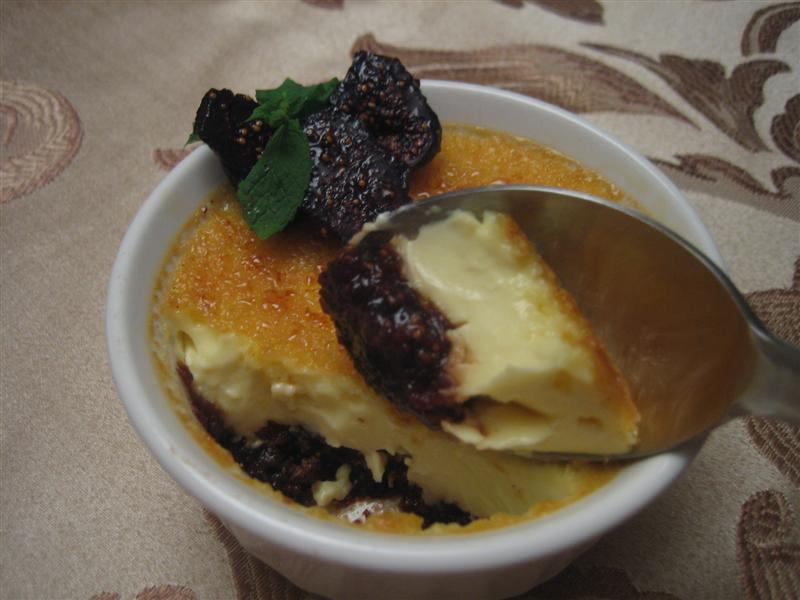 Poached Dried Mission Fig Creme Brulee