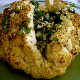 Roasted Cauliflower with Lemony, Garlicky and Capers Dressing