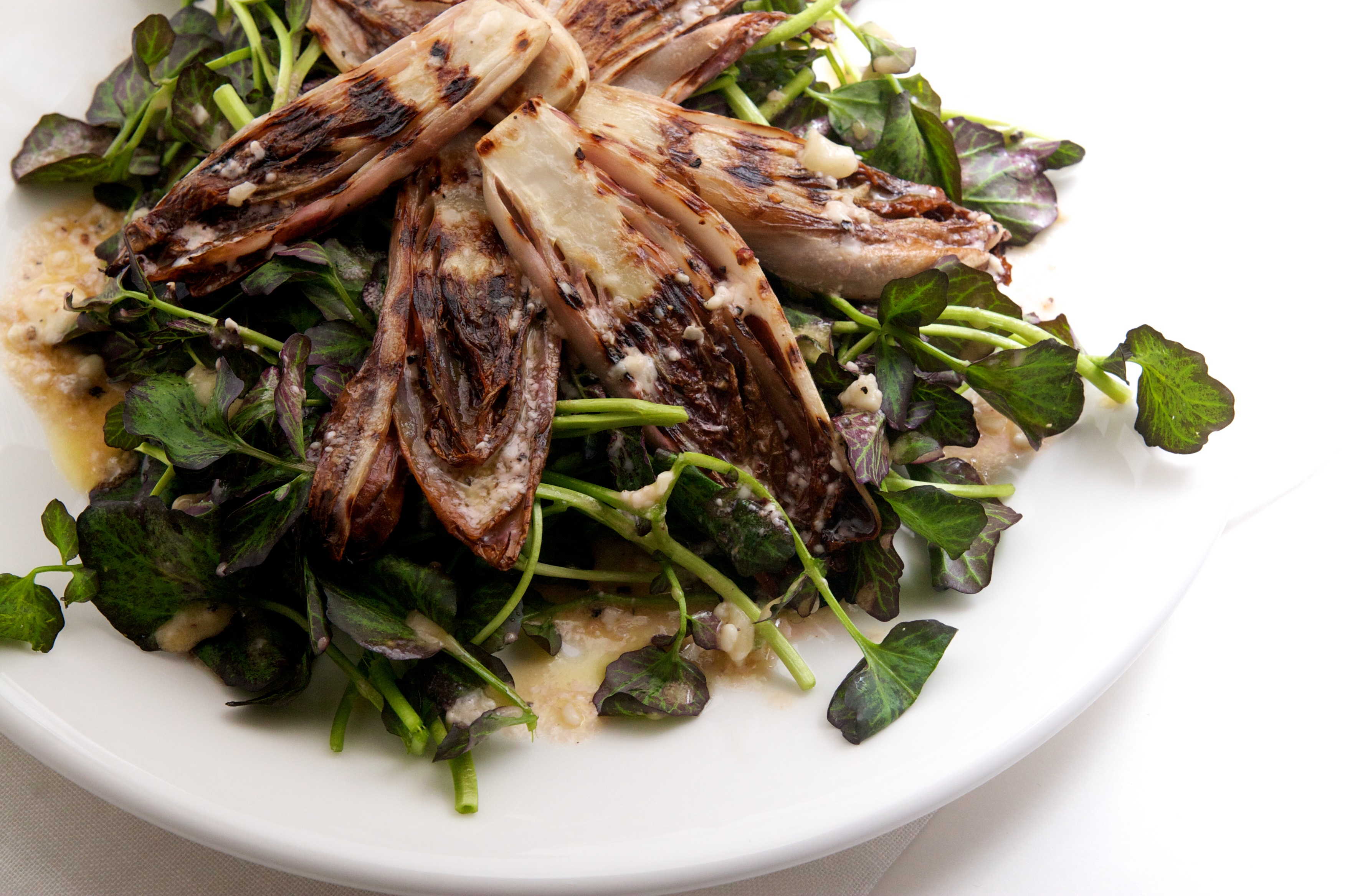 Grilled Endive & Watercress Salad with a Blue Cheese Vinagrette