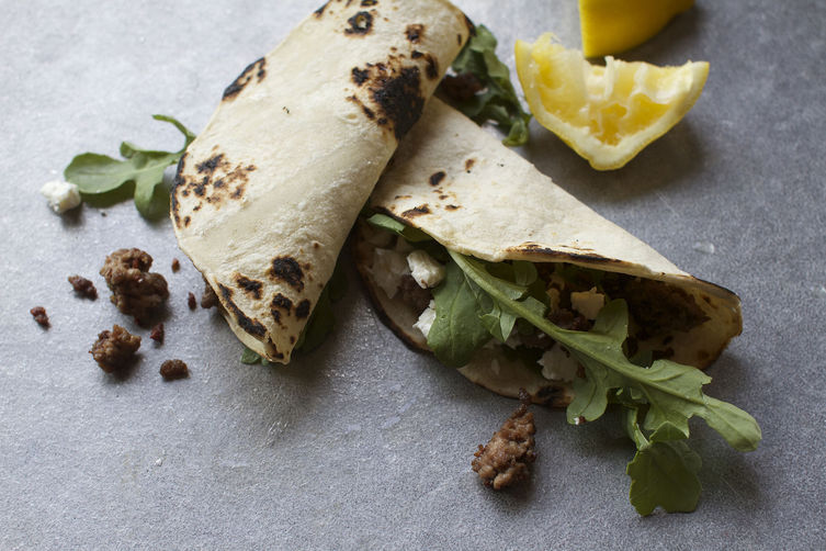 Lamb, Arugula, and Feta Taco
