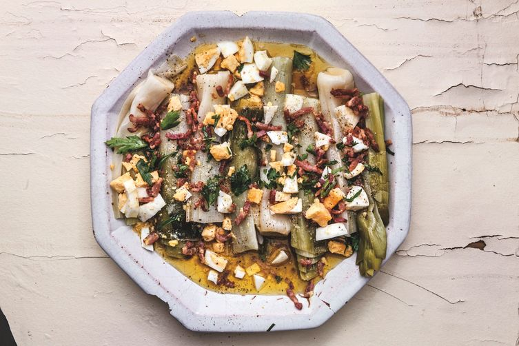 David Lebovitz's Leeks with Mustard-Bacon Vinaigrette