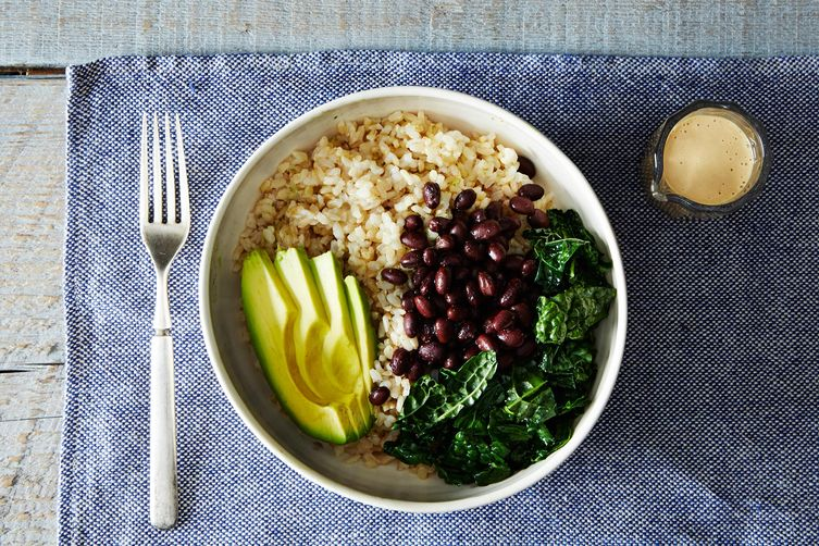 Tahini dressing and vegan rice bowl