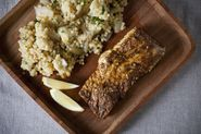 Dinner Tonight: Vegetable Couscous with Halibut + a Tom Collins