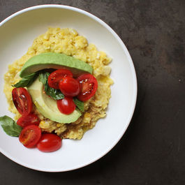 Fresh Corn Polenta with Avocado and Tomato Salad
