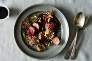 Stephanie Izard's Roasted Lamb Medallions with Mushrooms, Pistachios, and Blackberry
