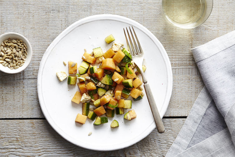 Cantaloupe Cucumber Salad with Basil and Feta
