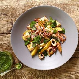 Chester Gerl's Squid with Watercress Salsa Verde
