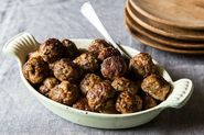 Tender Meatballs + Chard Salad with Garlic Breadcrumbs