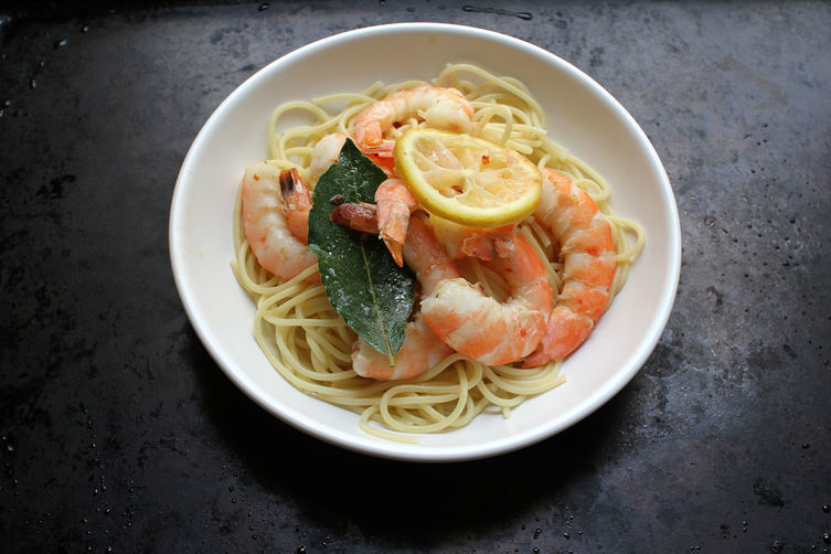 Baked and Buttered Bay Shrimp over Pasta