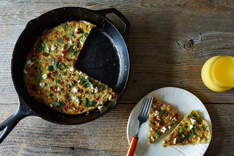 Herb, Feta, and Quinoa-Filled Frittata + Penelope Casa's Garlic Green Beans
