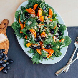 Roasted Grape and Butternut Squash Salad with Kale and Parmesan