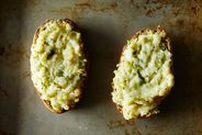 Baked Potatoes Stuffed with Broccoli and Cheddar Cheese