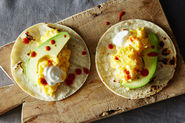 Scrambled Egg Tacos with Avocado + Salsa Verde