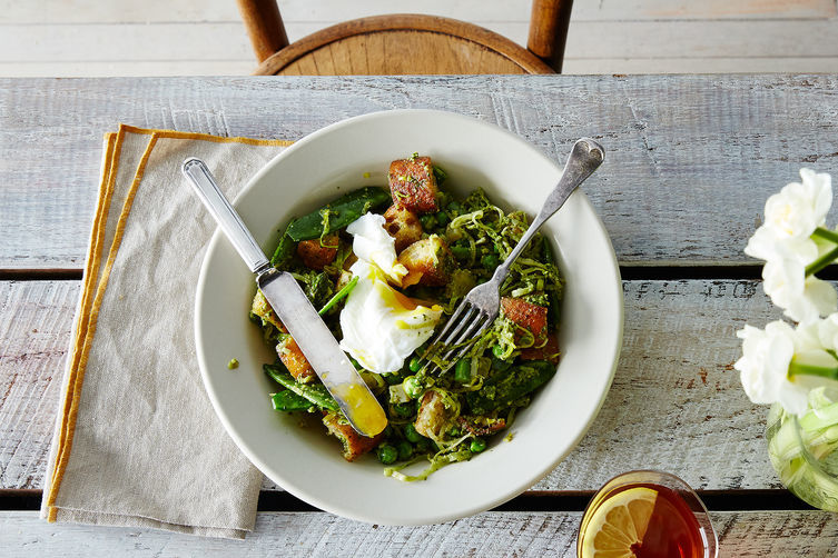 Spring Vegetable Panzanella with Poached Eggs + Buttery Lemony Lace Cookies