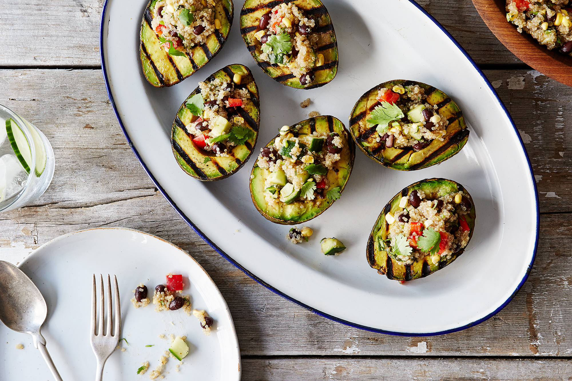 Grilled Avocado Halves with Quinoa and Black Bean Salad Recipe