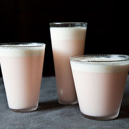 Rhubarb and Rose Ramos Gin Fizz