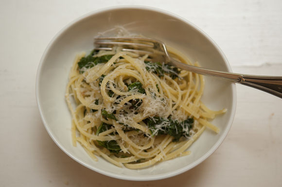 Dinner Tonight: Linguine with Kale + Roasted Carrots