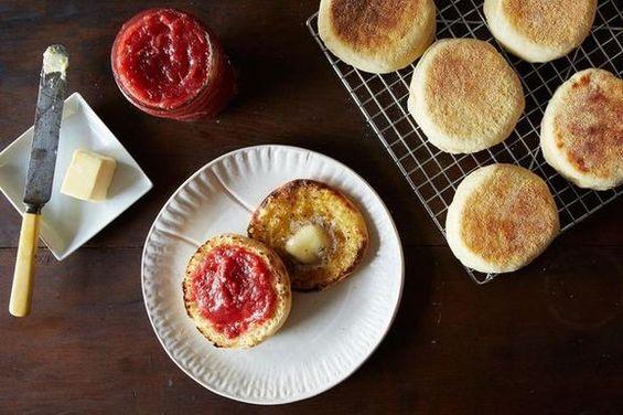 Christina Tosi's English Muffins + Pickled Strawberry Jam