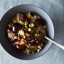 Whole Oat Groats with Stone Fruit, Pistachios & Almond Milk