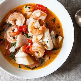 Dinner Tonight: Dad's Favorite Seafood Stew + Grilled Corn with Basil Butter