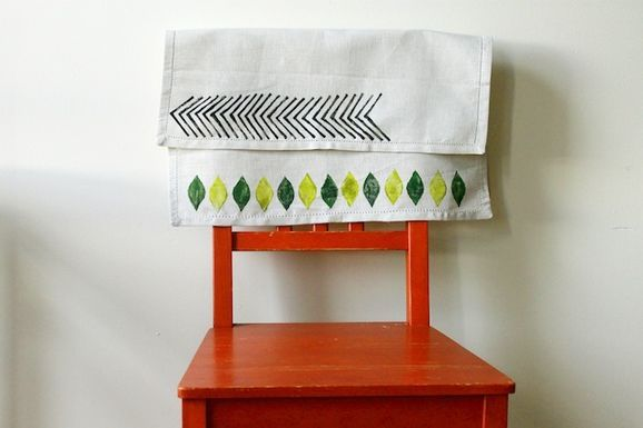 Make Your Own Graphic Print Linens with a Potato Stamp