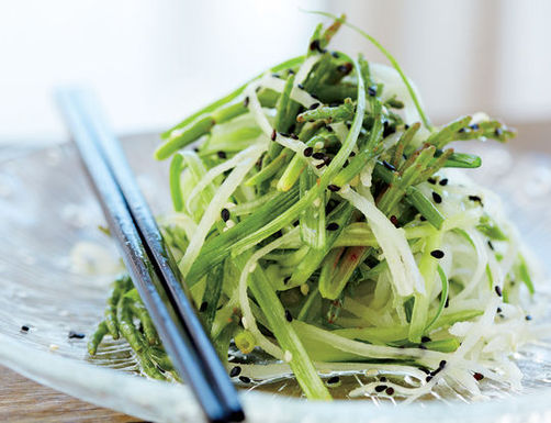 Sea Bean Salad with Daikon and Cucumber