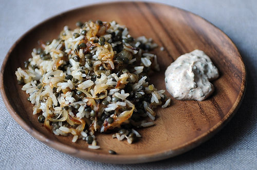 Mujaddara + Eggplant Dip with Yogurt